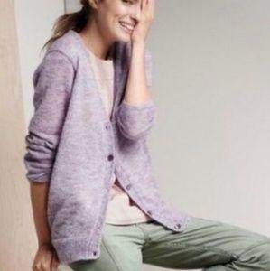 J. Crew Lavender Mohair Cardigan Sweater